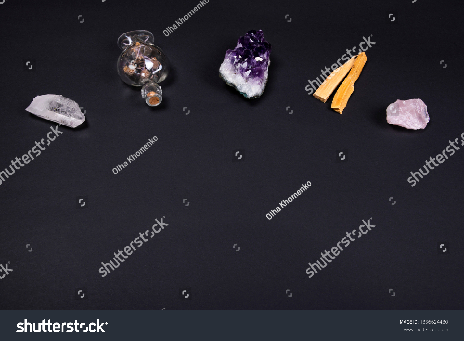 Canapé Relax Quartz Composition Esoteric Objects Used Healing Meditation Stock Photo