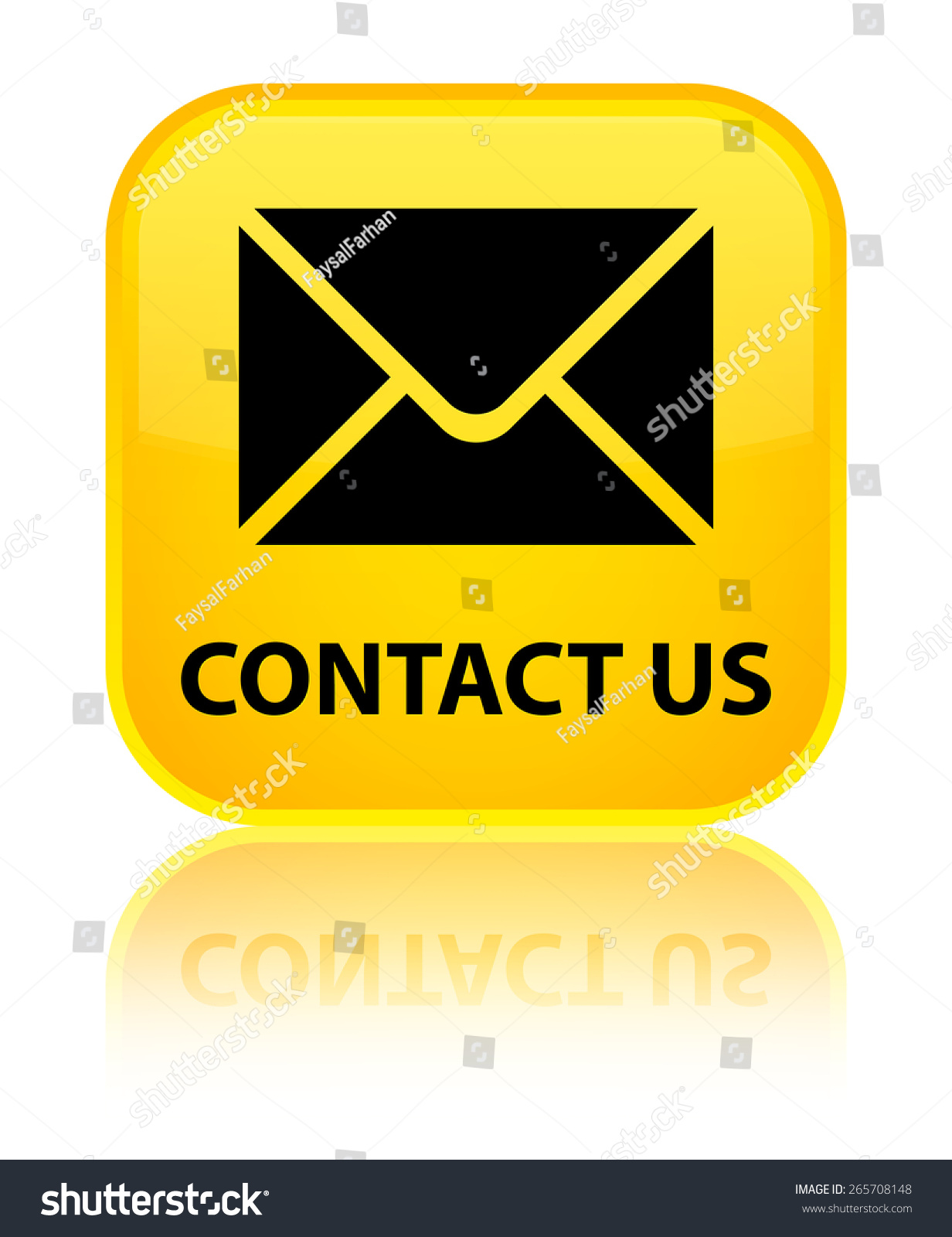 Email Icon Isolated On Special Yellow Square Button Abstract Contact Us Email Icon Yellow Square Stock Illustration