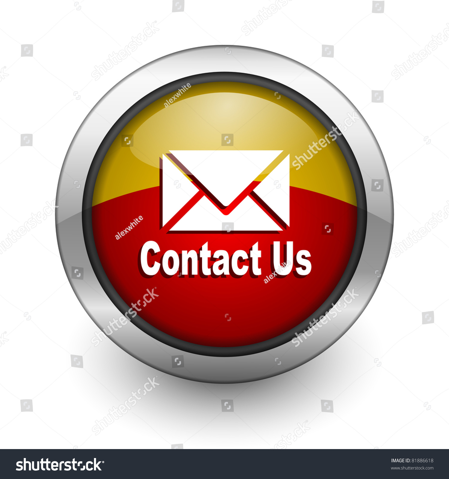 Email Icon Isolated On Special Yellow Square Button Abstract Contact Us Red Yellow Aqua Button Stock Illustration