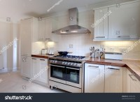 Contemprary Cream Colored Modern Kitchen Range Stock Photo ...