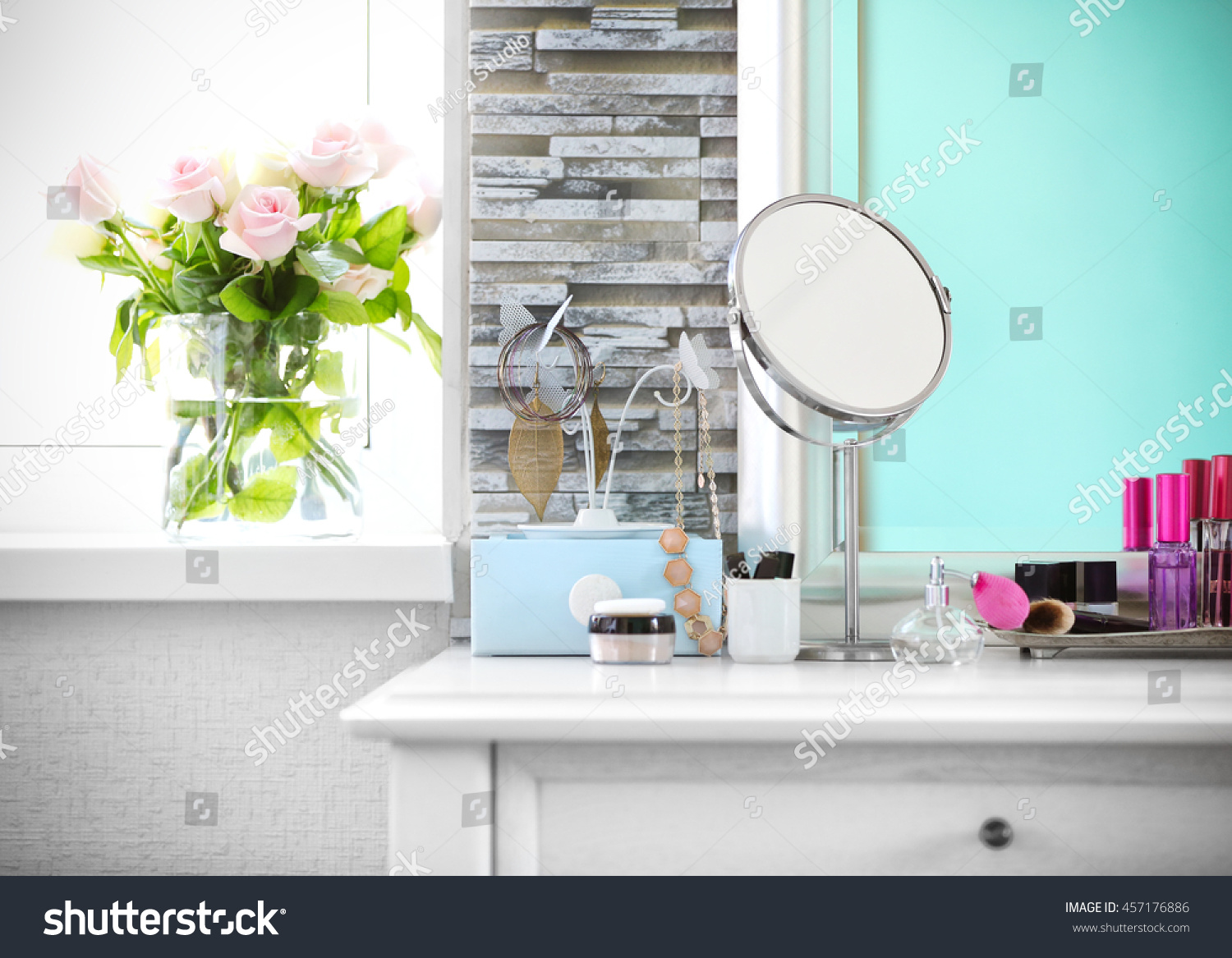 Cosmetic Table Cosmetic Set On Light Dressing Table Stock Photo Edit Now