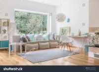 Cozy Bright Living Room And Big Window Stok Fotoraf ...