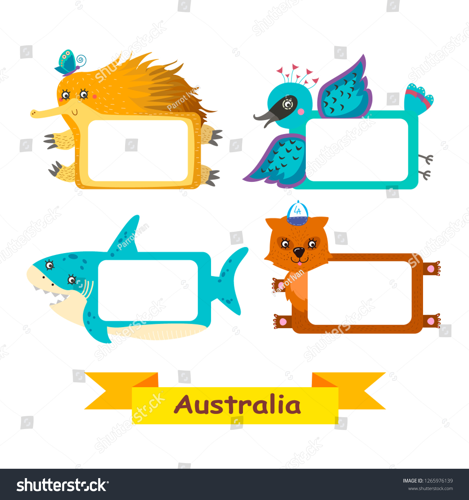 Picture Frames Australia Cute Animal Labels Frames Exotic Australian Stock Illustration