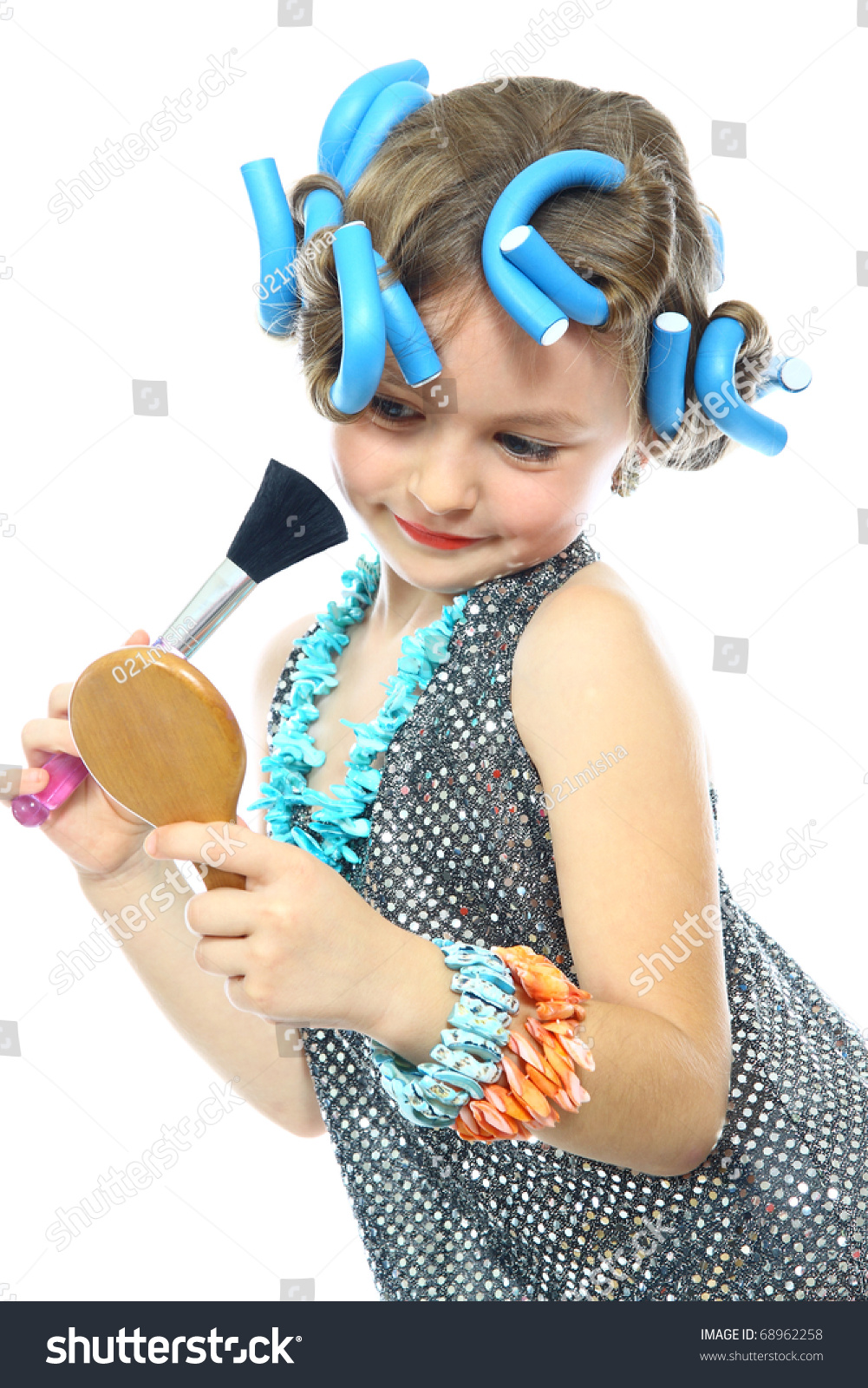 Infant Toddler Mirror Cute Little Girl Brush Makeup Mirror Stock Photo 68962258