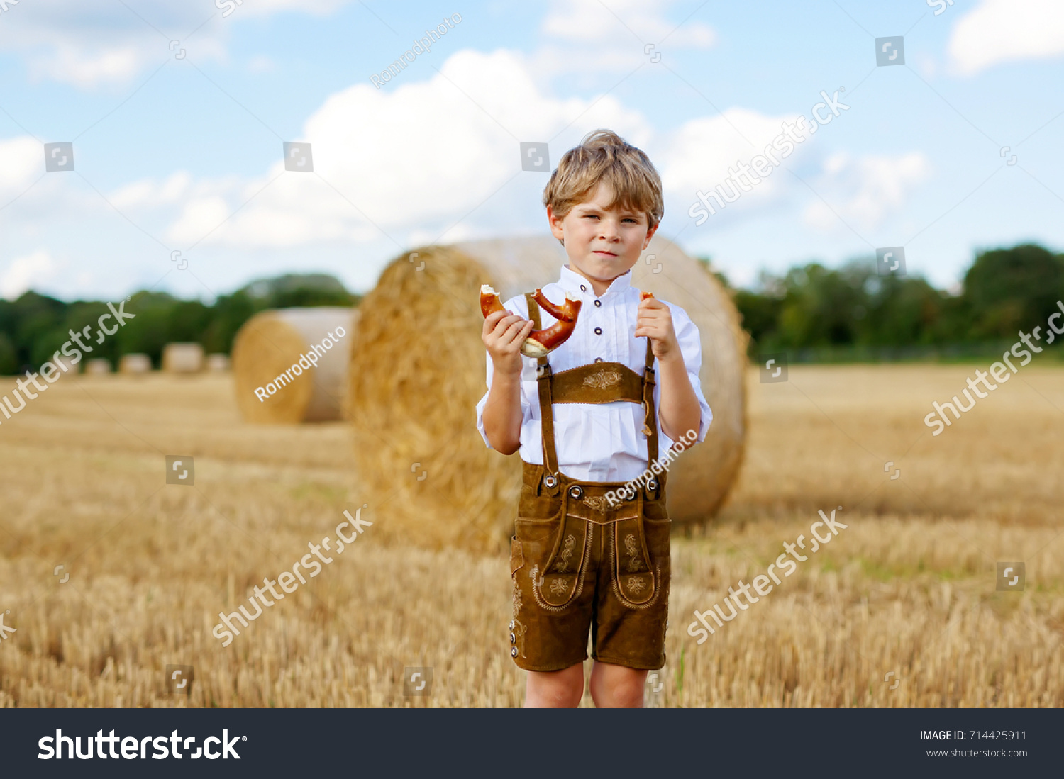 Baby Model München Cute Little Kid Boy Traditional Bavarian Stock Photo