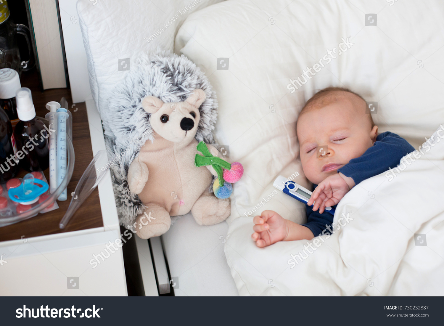 Newborn Infant With Fever Cute Newborn Baby Boy Lying Bed Stock Photo Edit Now 730232887