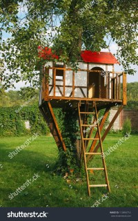 Cute Small Tree House For Kids On Backyard. German Style ...