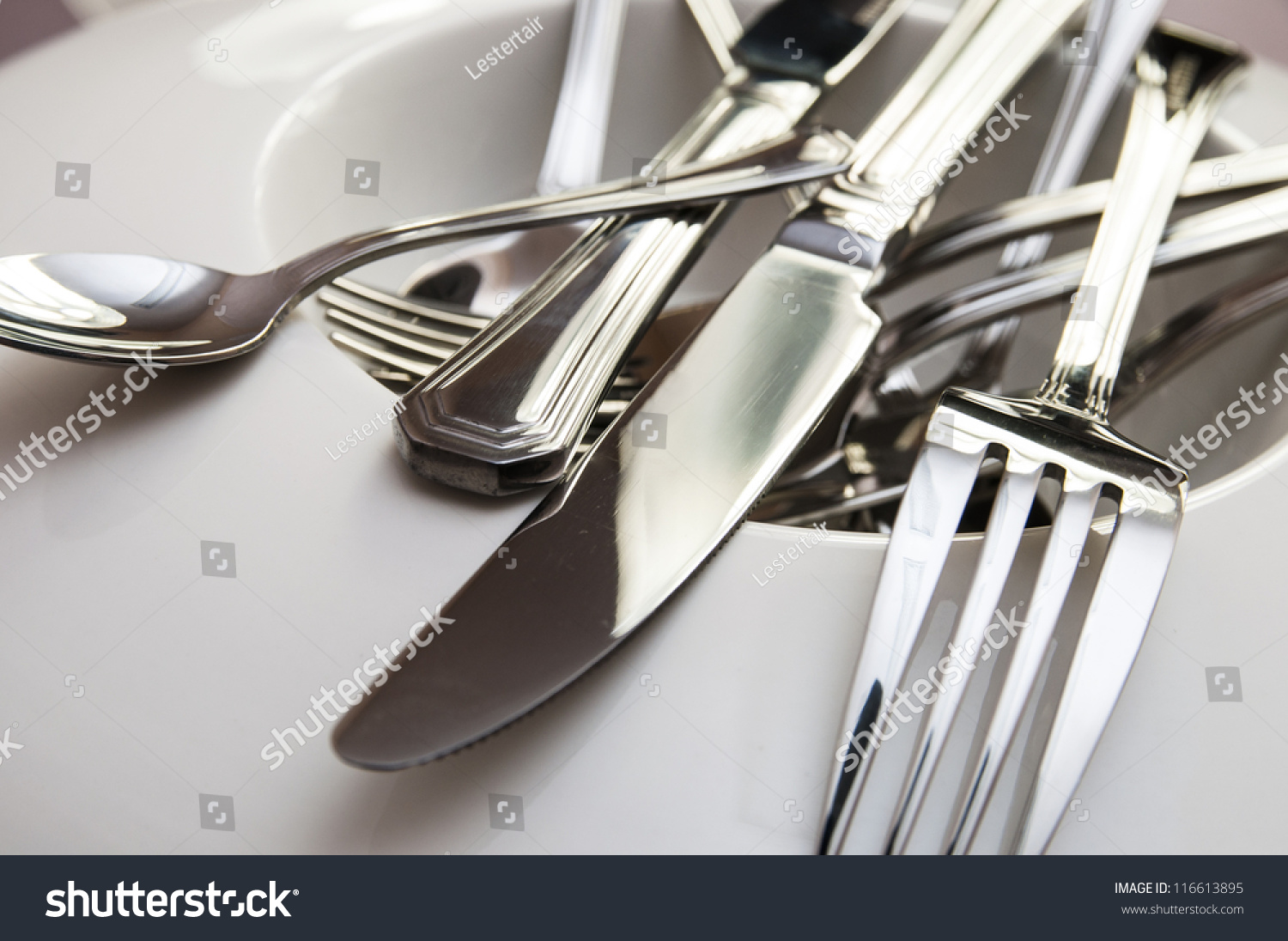 Spoons Forks Knives Set Cutlery Set Of Metal Spoons Forks And Knives Stock Photo