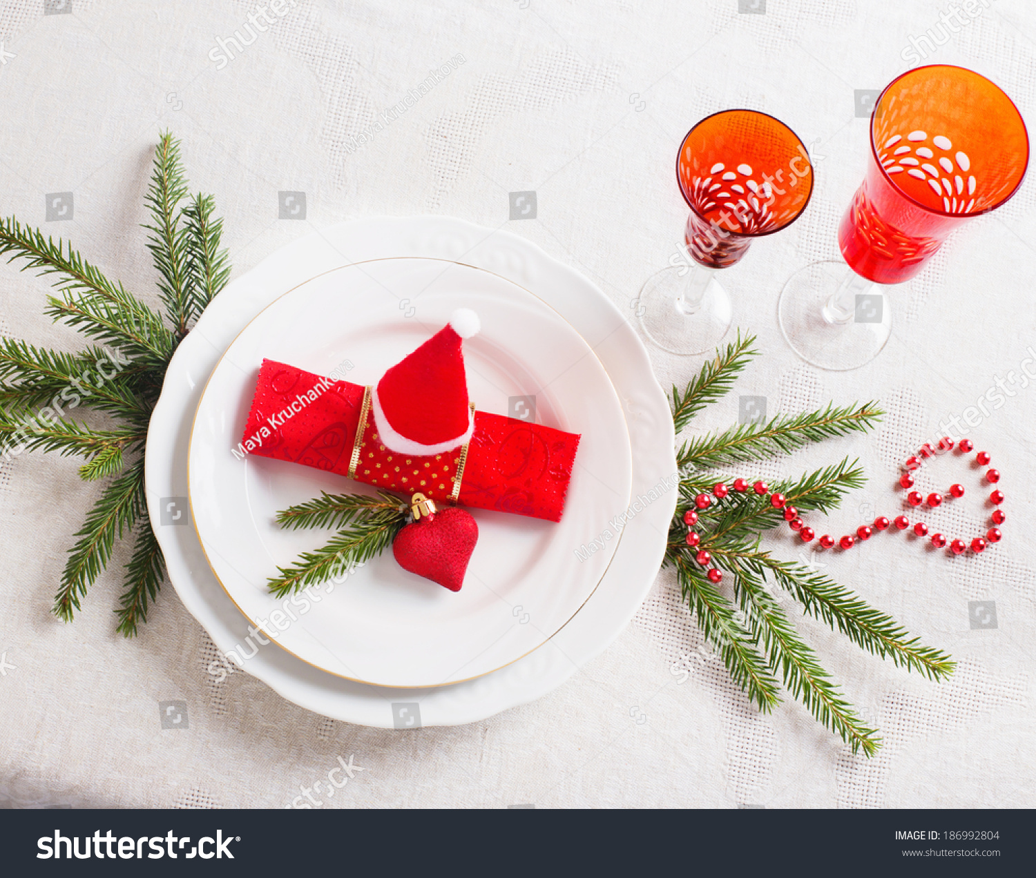 Christmas Tables Decorated Decorated Christmas Table Stock Photo 186992804 Shutterstock