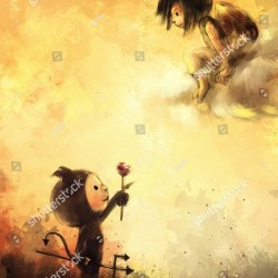 Digital Painting Devil Giving Flowers Angel Stock Illustration