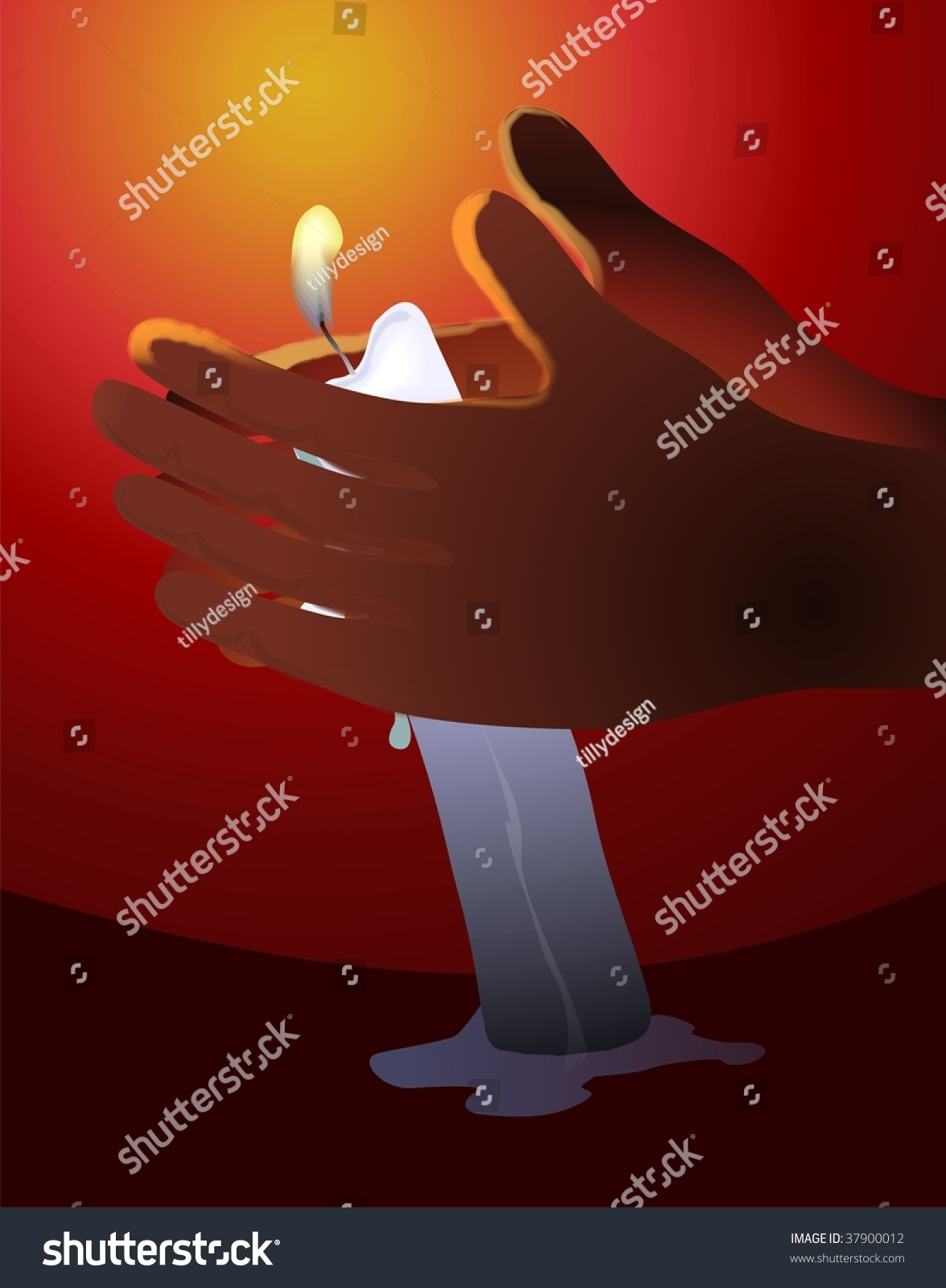 Candle Light Painting Digital Painting Hands Candle Light Stock Illustration 37900012