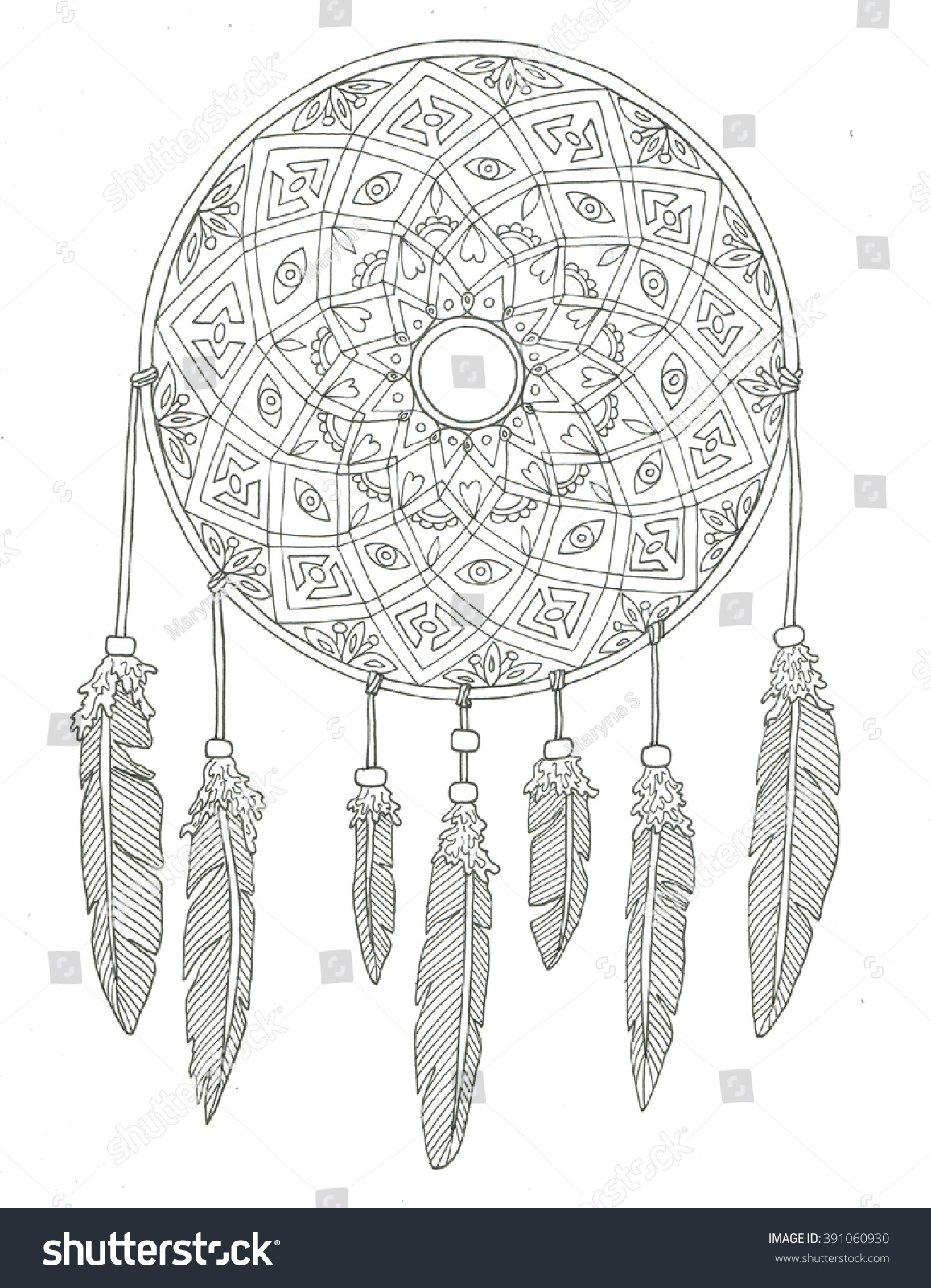 Coloring pages dream catchers -  Dream Catcher Coloring Page Download