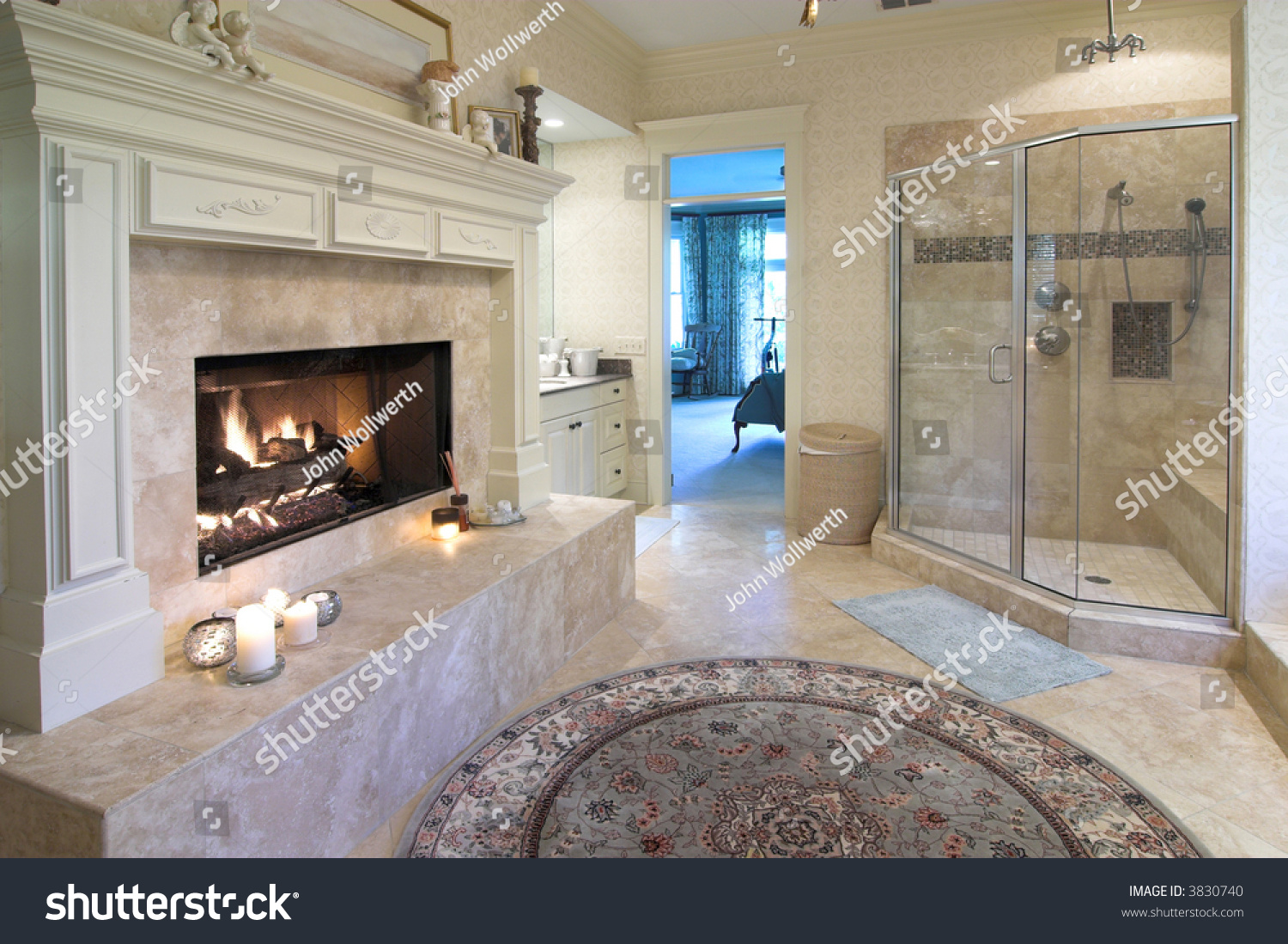 Extravagant Bathrooms Extravagant Bathroom With Fireplace Glass Shower And