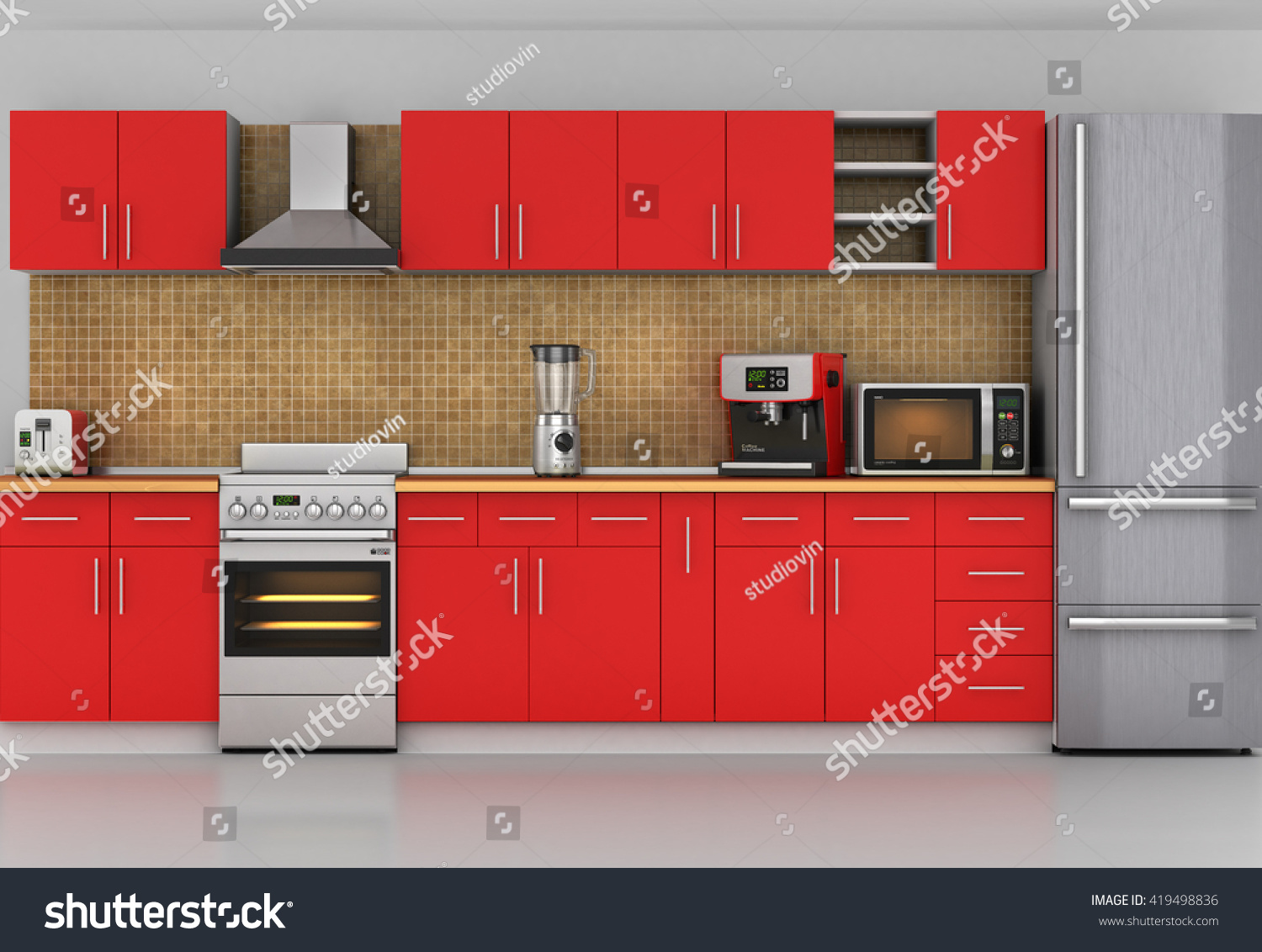Facade Kitchen Front View Red Kitchen Stock Illustration