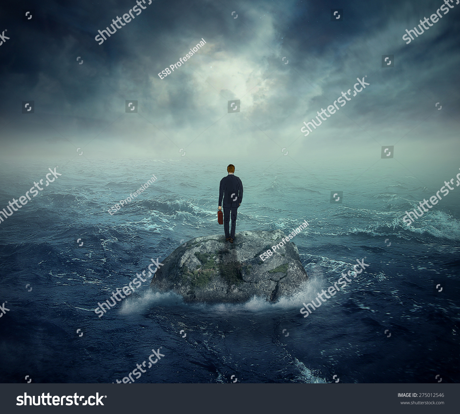 Lonely Girl Walking In Rain Wallpaper Failure Crisis Concept Lost Business Career Stock Photo