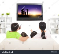 Family Watching Tv Living Room Stock Photo 152067002 ...