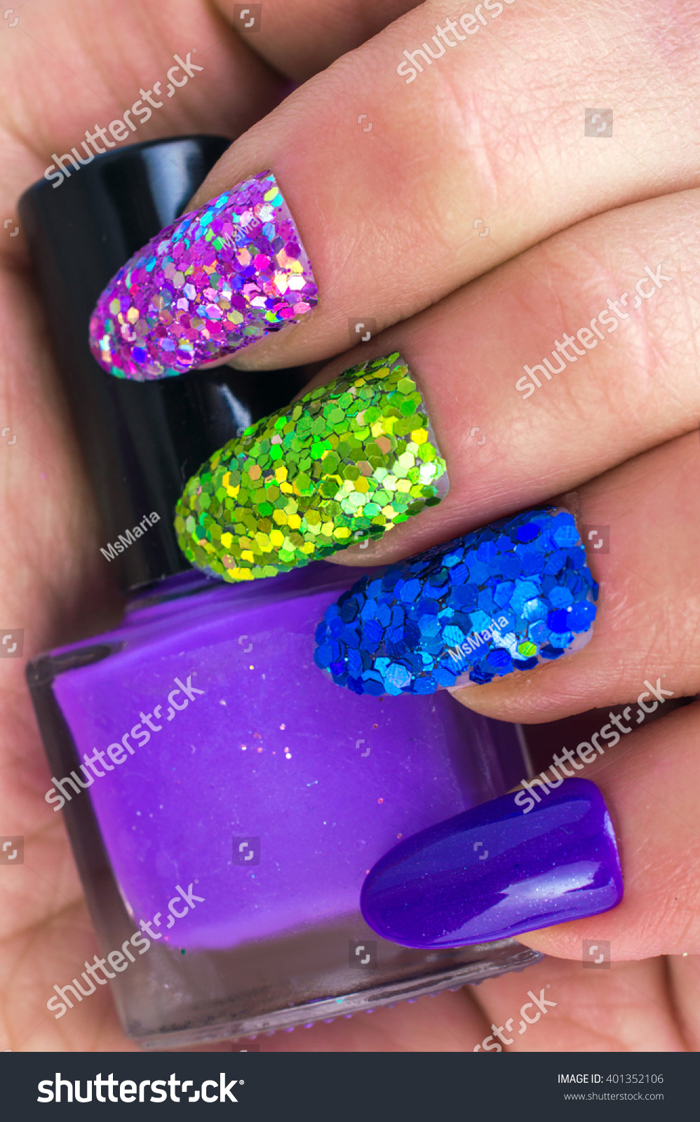Fashionable Stylish Colorful Nails Nail Polish Stock Photo