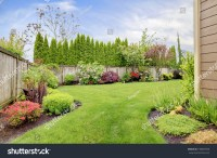 Fenced Backyard View Lawn Blooming Flower Stock Photo ...