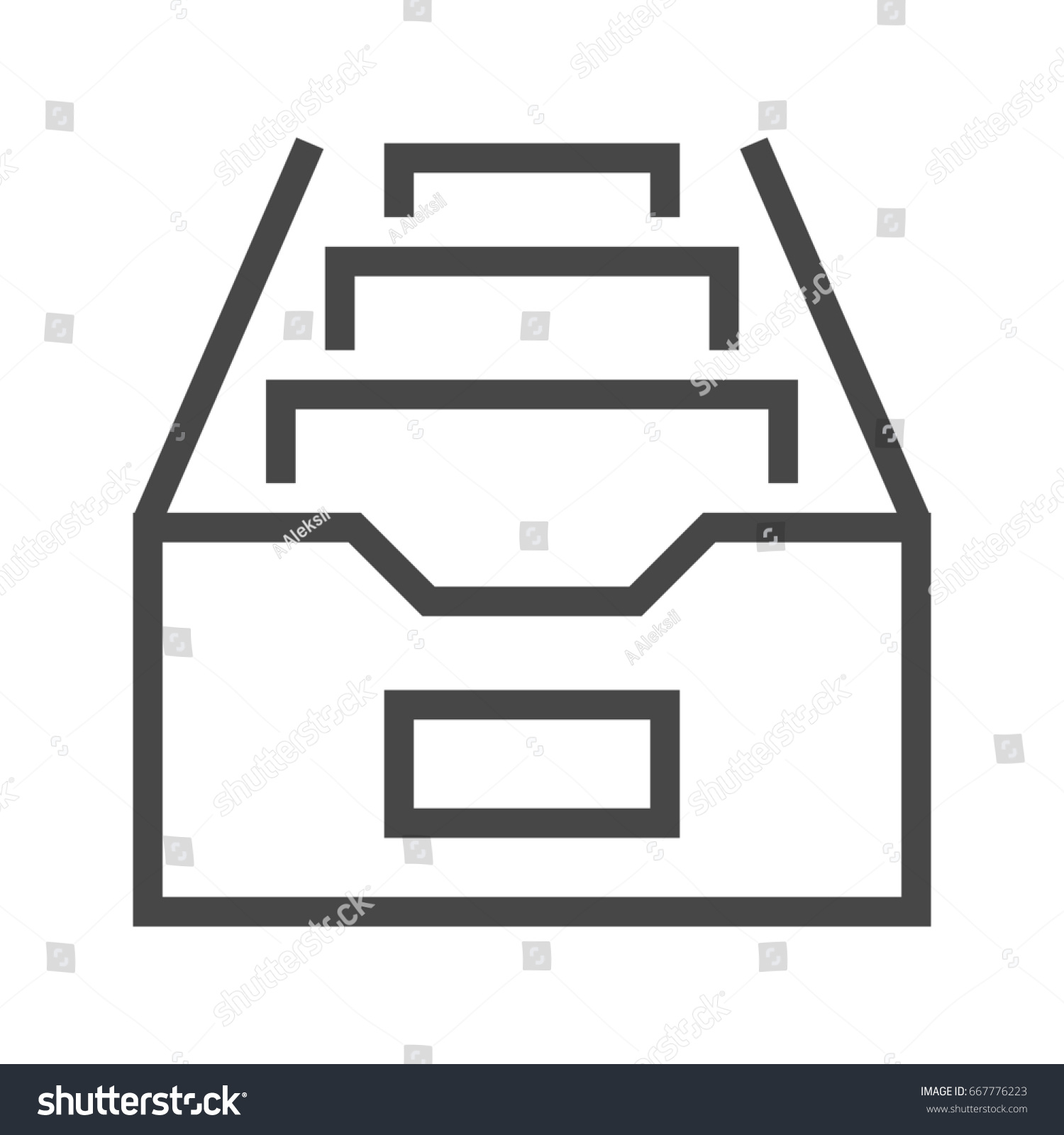 Filing Cabinet Icon Flat File Cabinet Thin Line Icon Flat Stock Illustration Royalty Free