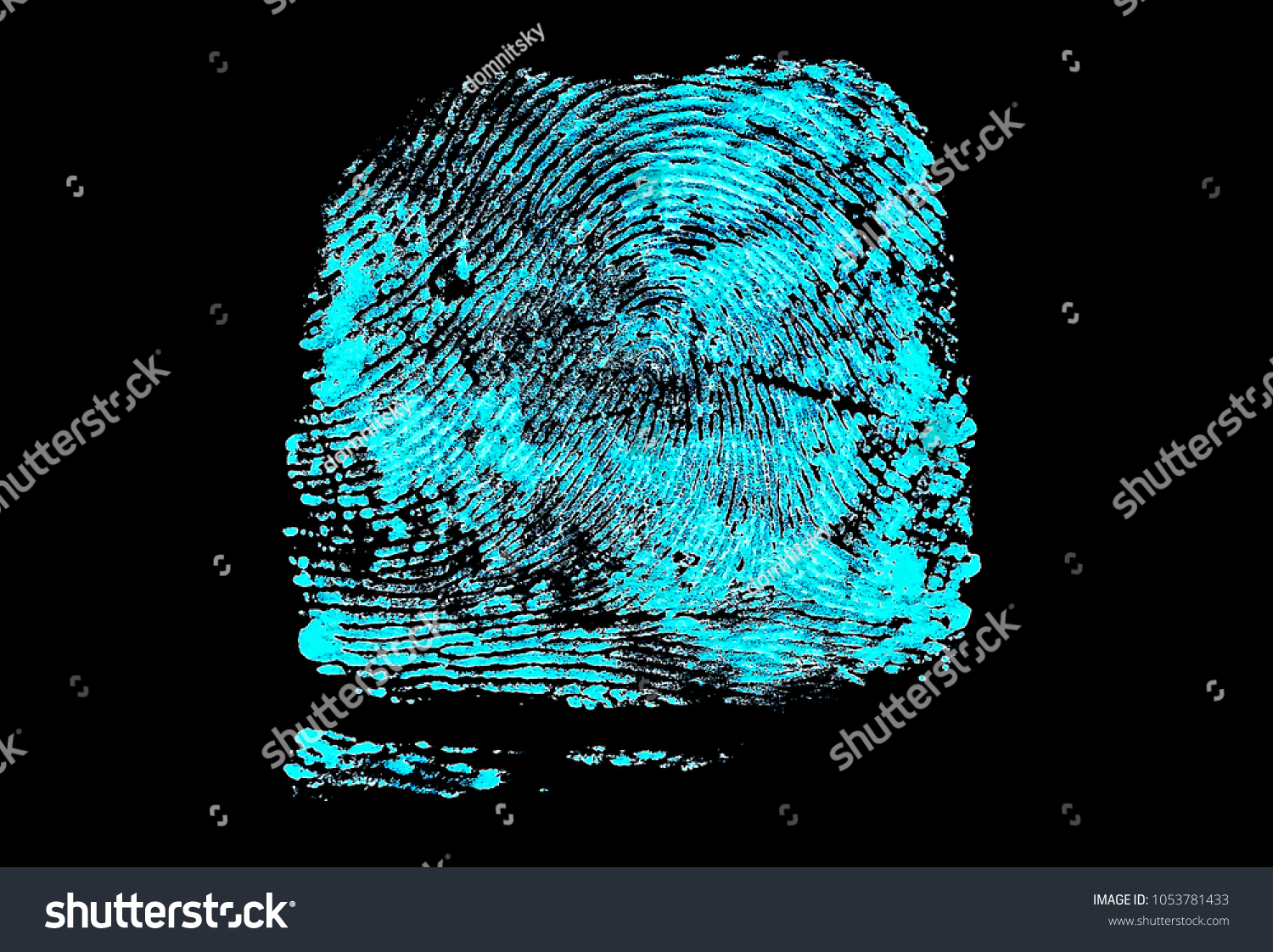Ultraviolet Lamp Fingerprint On Black Background Fingerprint Ultraviolet Stock