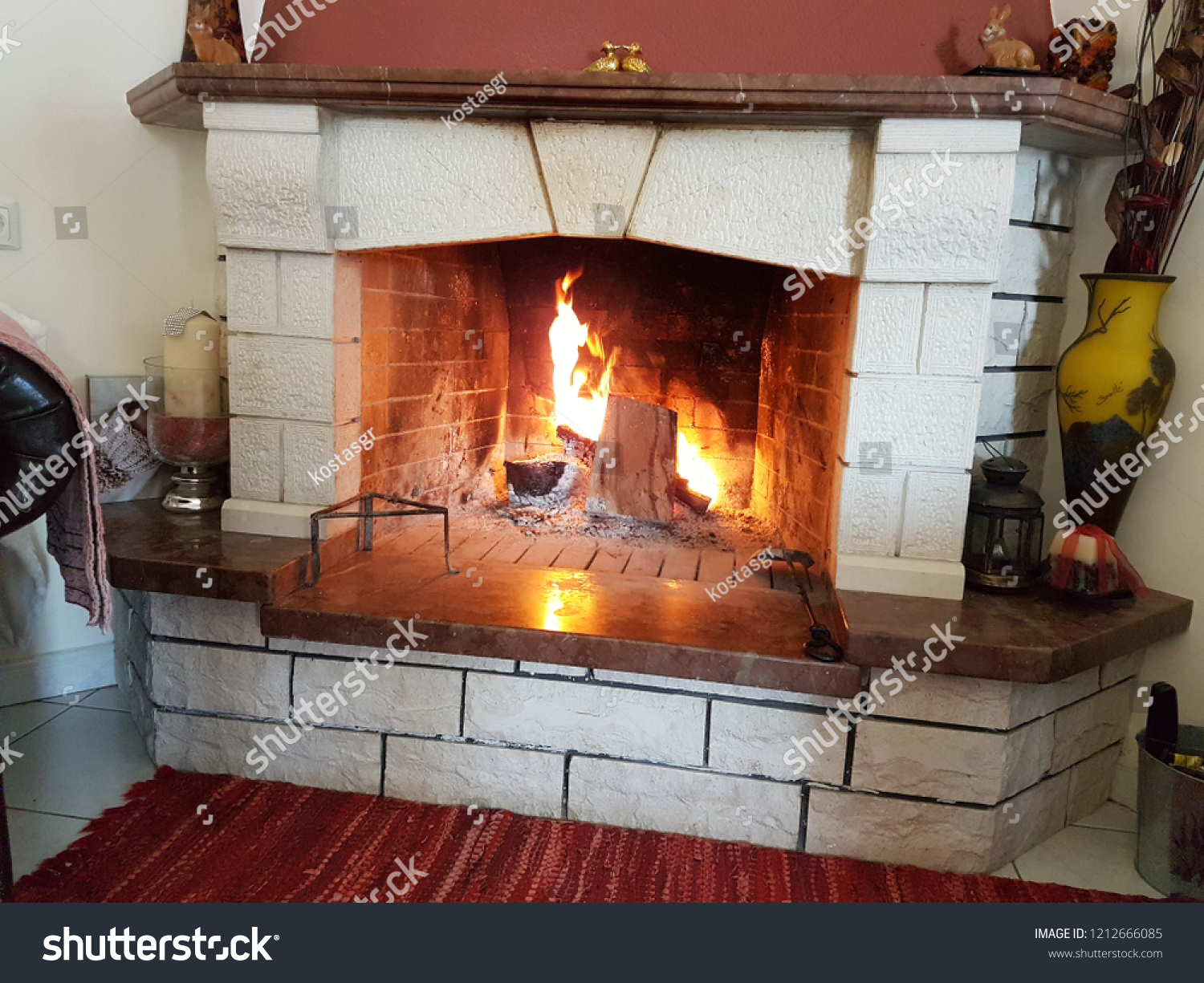 Fire Stones For Fireplace Fire Fireplace Winter Home Interior Stones Stock Photo Edit Now