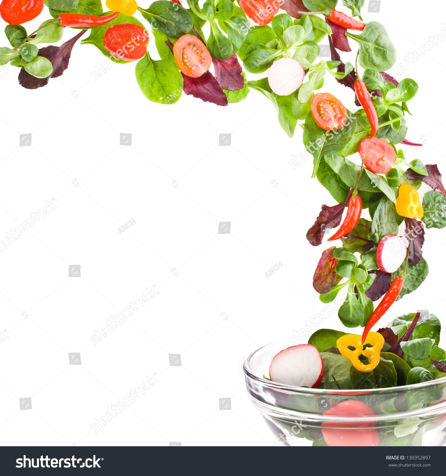 Wallpaper Hd Portrait Orientation Flying Fresh Salad Isolated Over White Stock Photo