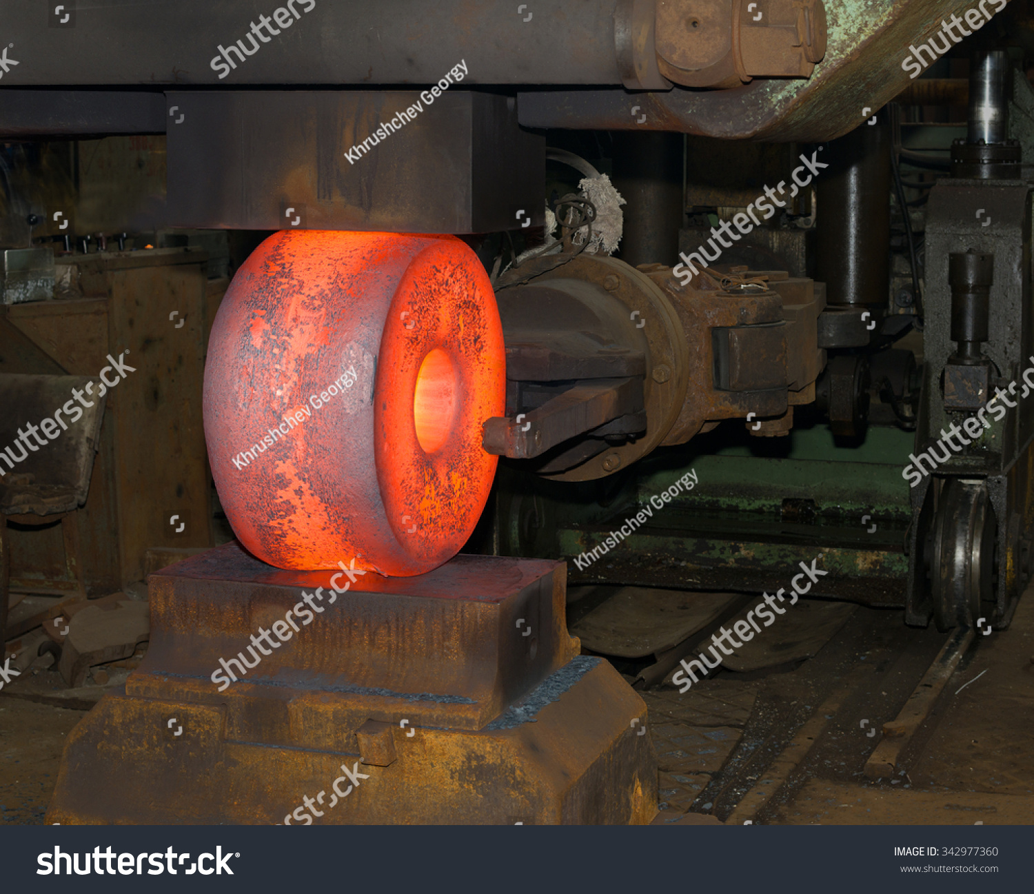 Industrial Forging Forging Very Large Redhot Billet Industrial Stock Photo Edit Now