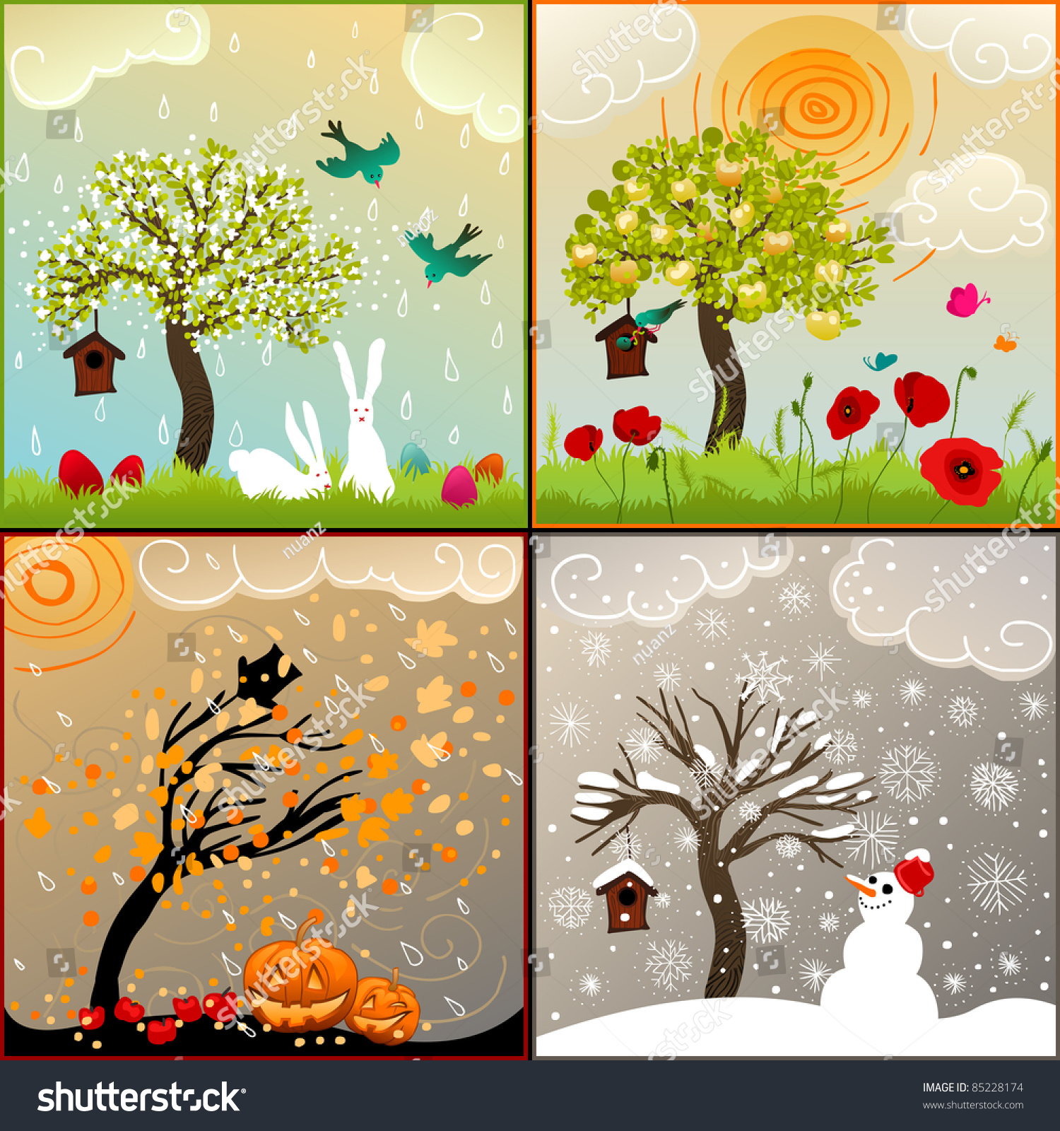 All Seasons Four Seasons Set Tree Birdhouse Birds Stock Illustration