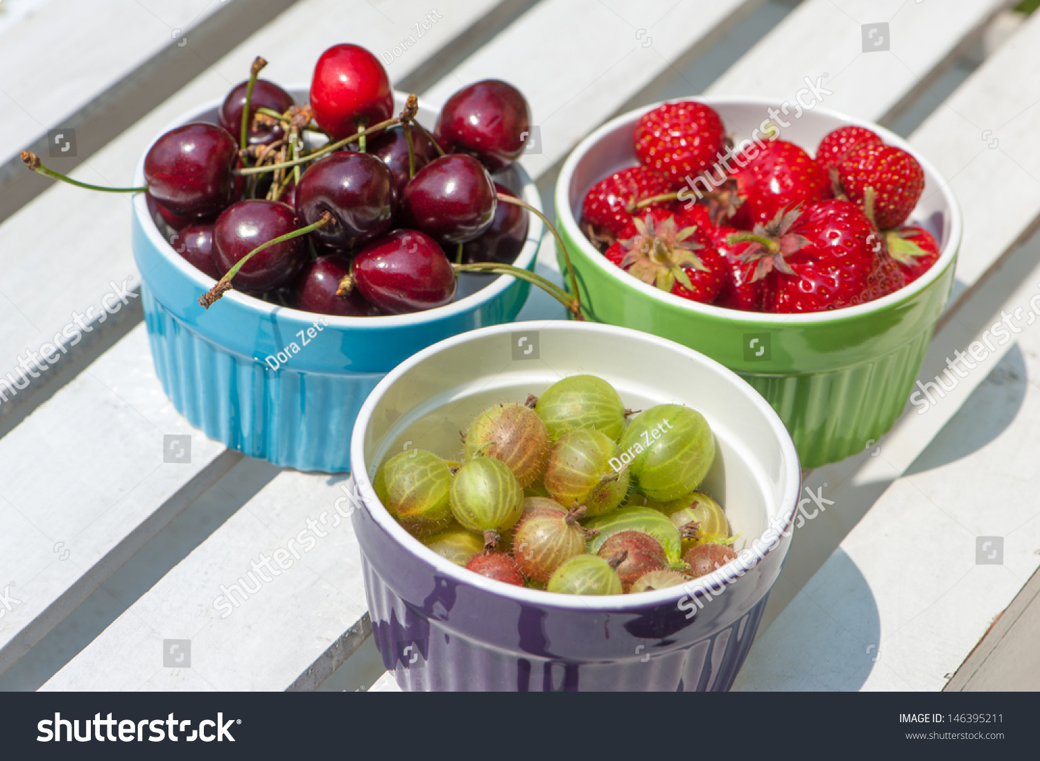 Colorful Fruit Bowl Fresh Fruits In Colorful Fruit Bowls Stock Photo 146395211