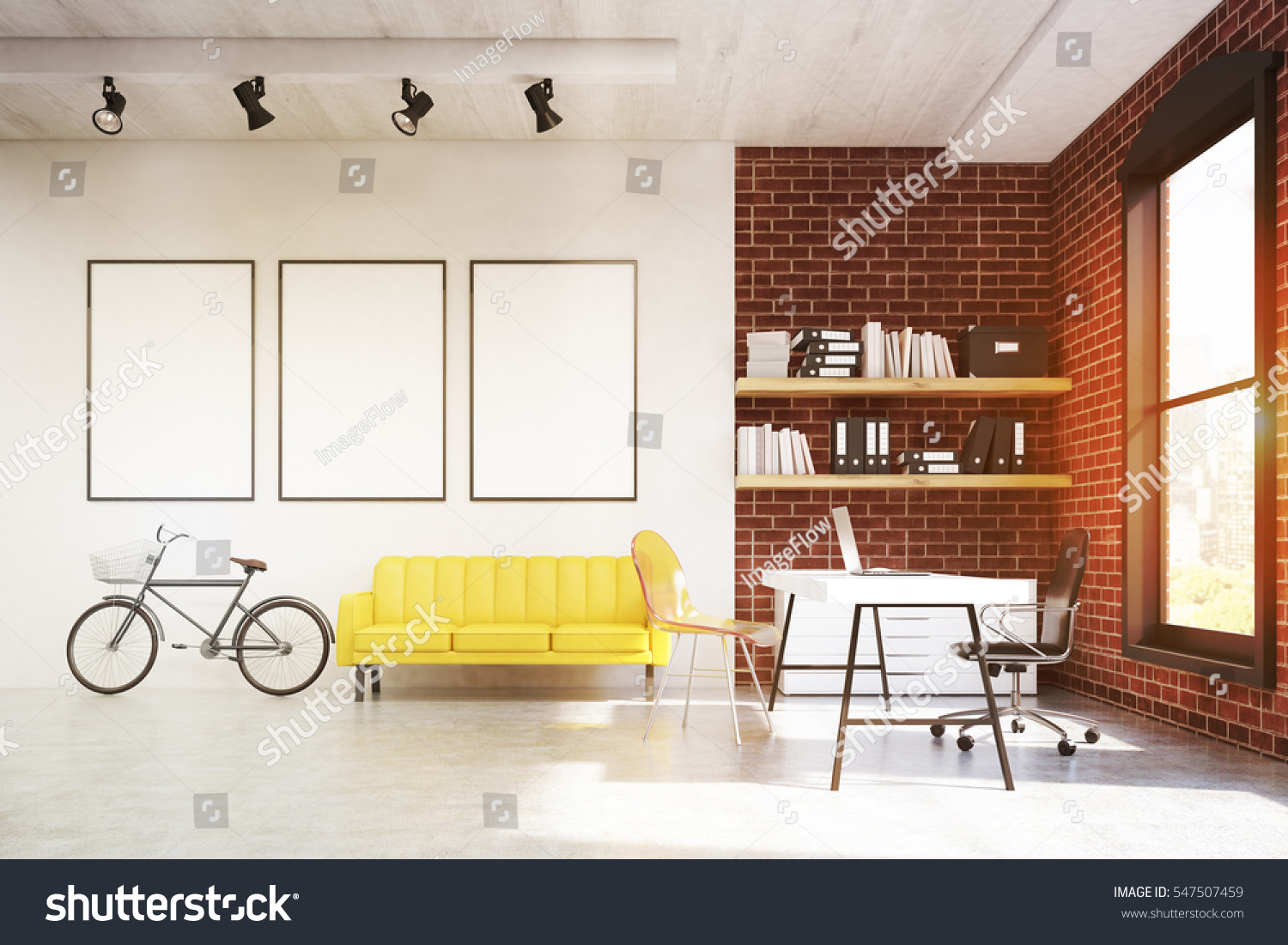 Sofa In Home Office Front View Home Office Interior Yellow Stock Illustration