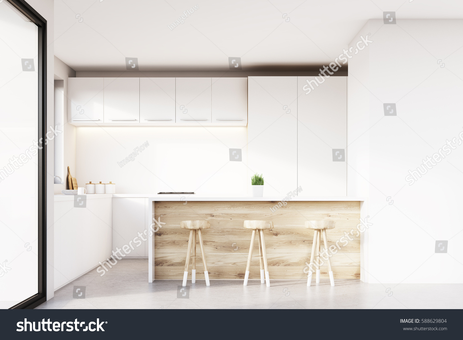 Front View Kitchen Interior Light Wooden Stock