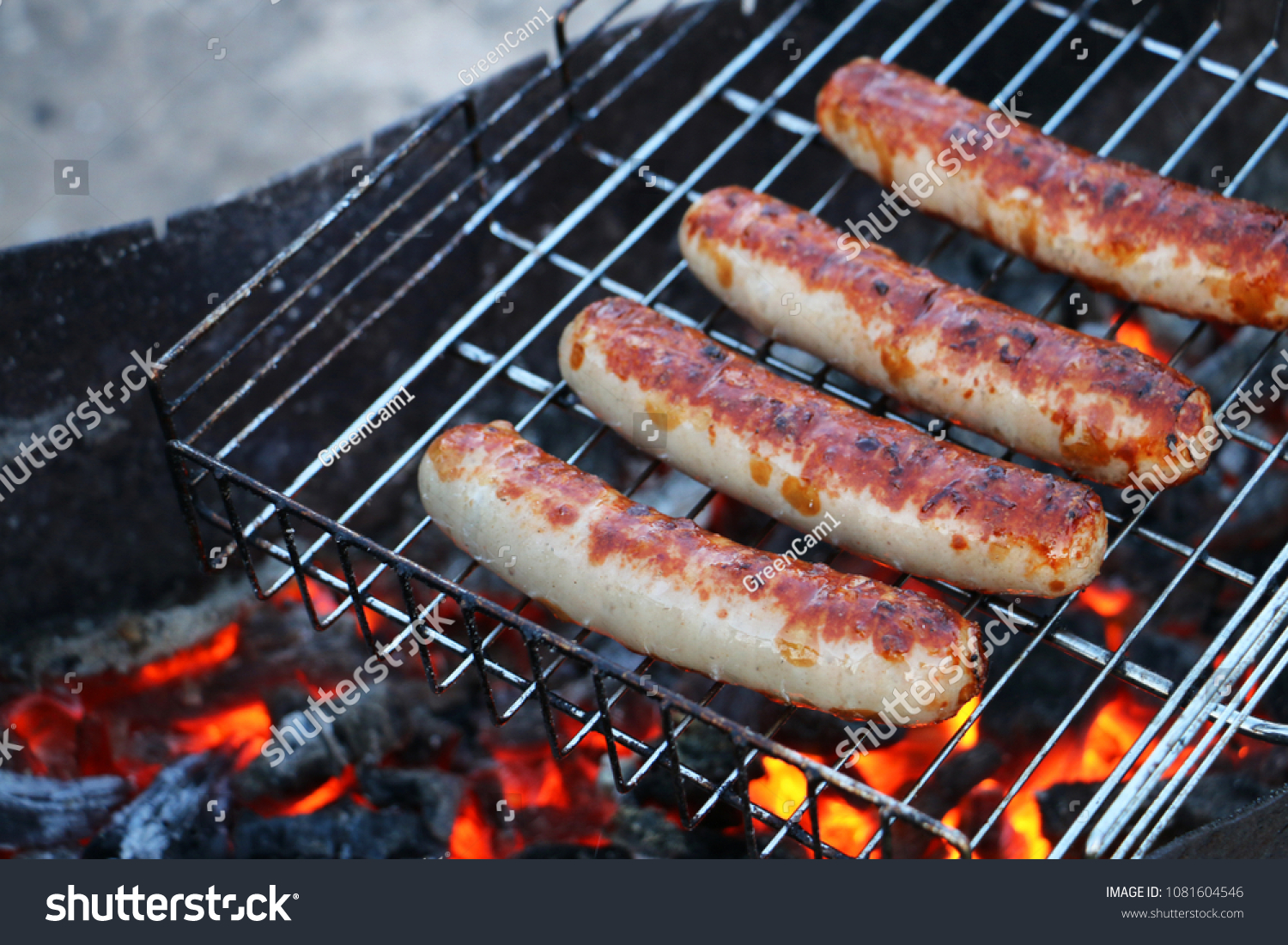 Coal Bbq Frying Sausages On Bbq Coal Grill Stock Photo Edit Now