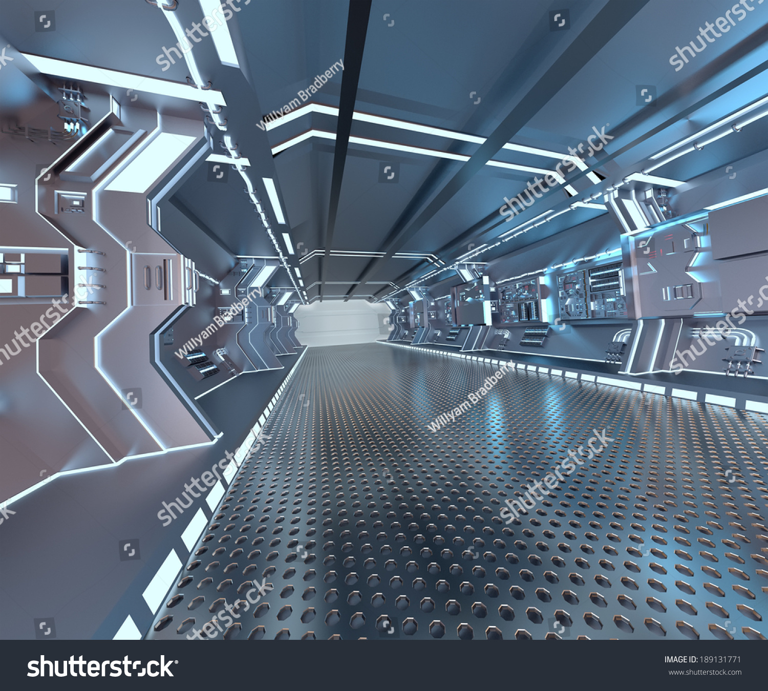 Futuristik Design Futuristic Design Spaceship Interior Metal Floor Stock