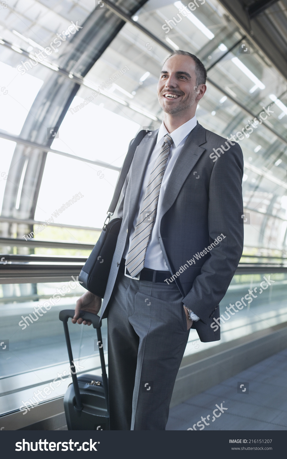 Notebook Station Leipzig Germany Leipzig Halle Airport Businessman Departure Lounge Stock