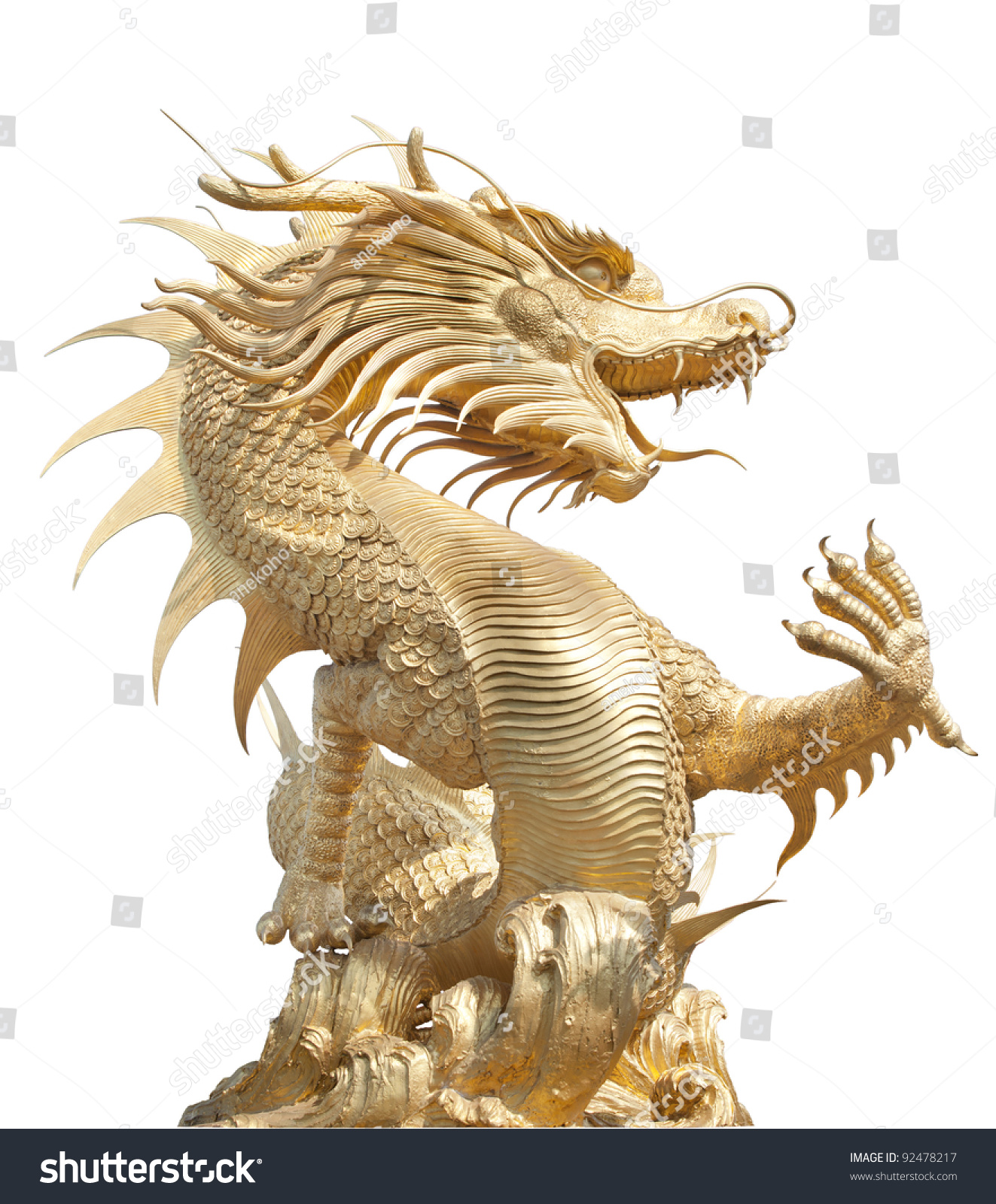 Giant Dragon Statue Giant Golden Chinese Dragon For Year 1212 Stock Photo