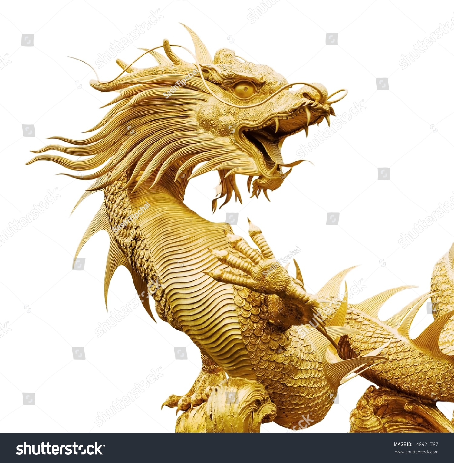 Giant Dragon Statue Giant Golden Chinese Dragon On Isolate Stock Photo