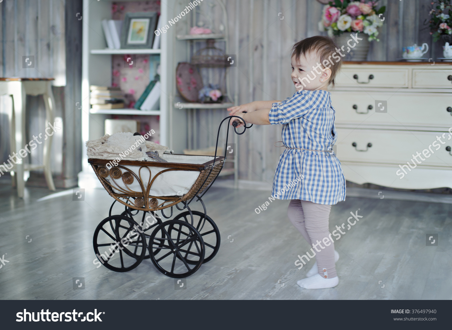 Vintage Toy Stroller Girl Toy Stroller Hand Vintage Provence Stock Photo Edit