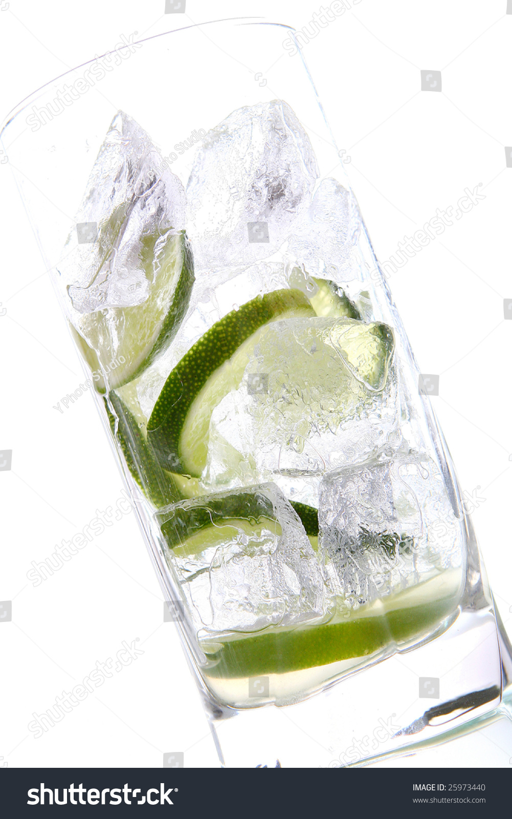 Mojito Glas Glas Water Ice Lime Stock Photo Edit Now 25973440 Shutterstock