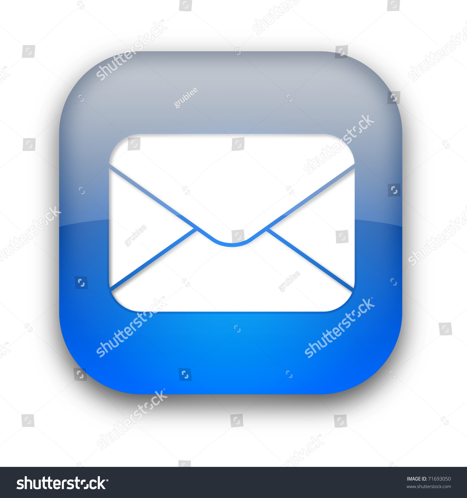 Email Icon Isolated On Special Yellow Square Button Abstract Glossy Mail Envelope Icon Button Isolated Stock