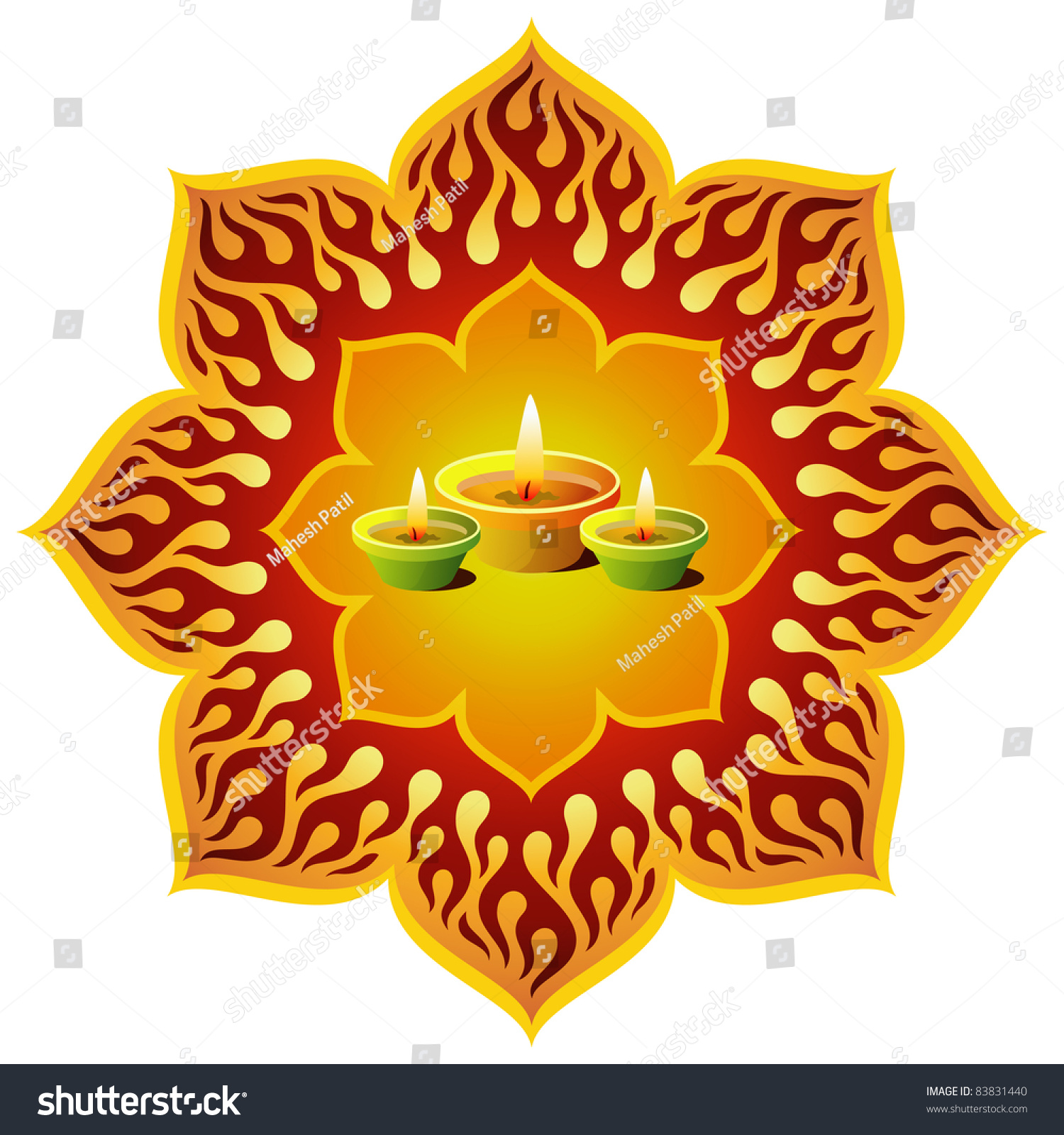 Diwali Lamp Designs Glowing Diwali Lamps Lotus Design Stock Photo 83831440