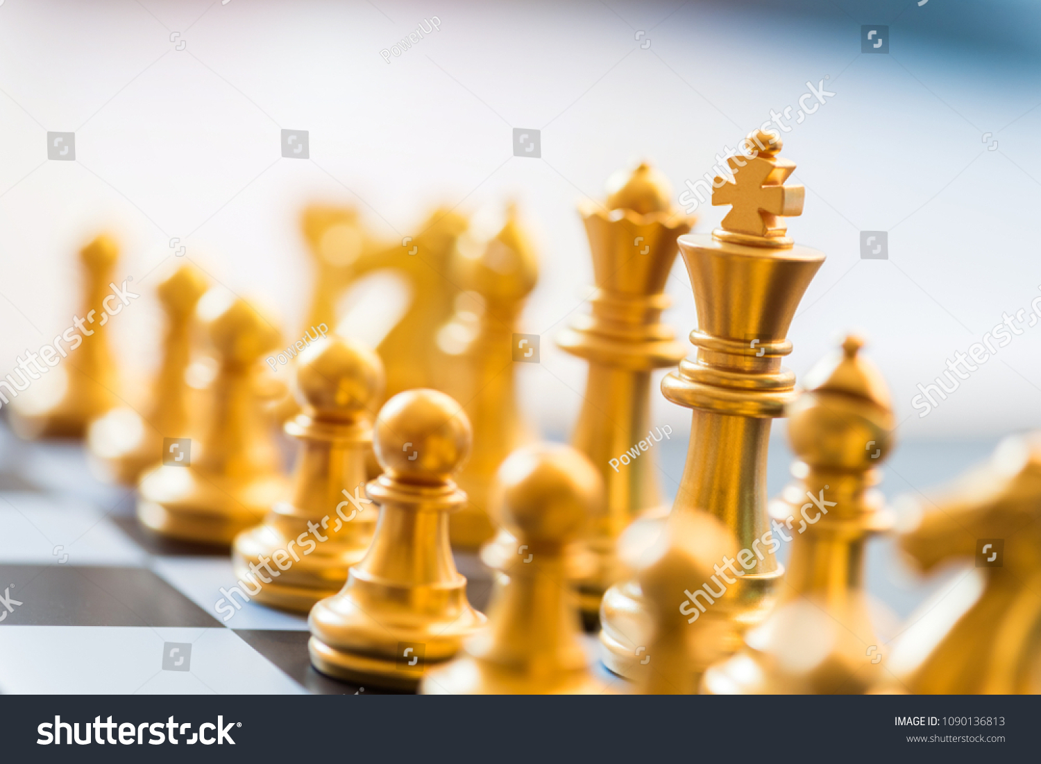 Gold Chess Pieces Gold Chess Pieces On Chessboard Business Stock Photo Edit Now