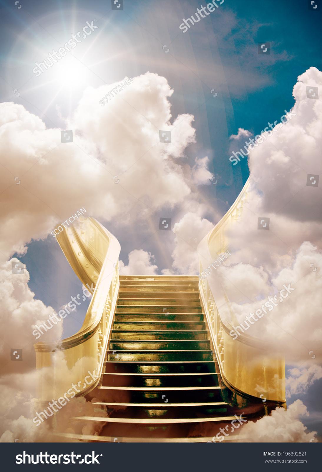 Golden Stairway Heaven Background Stock Photo 196392821