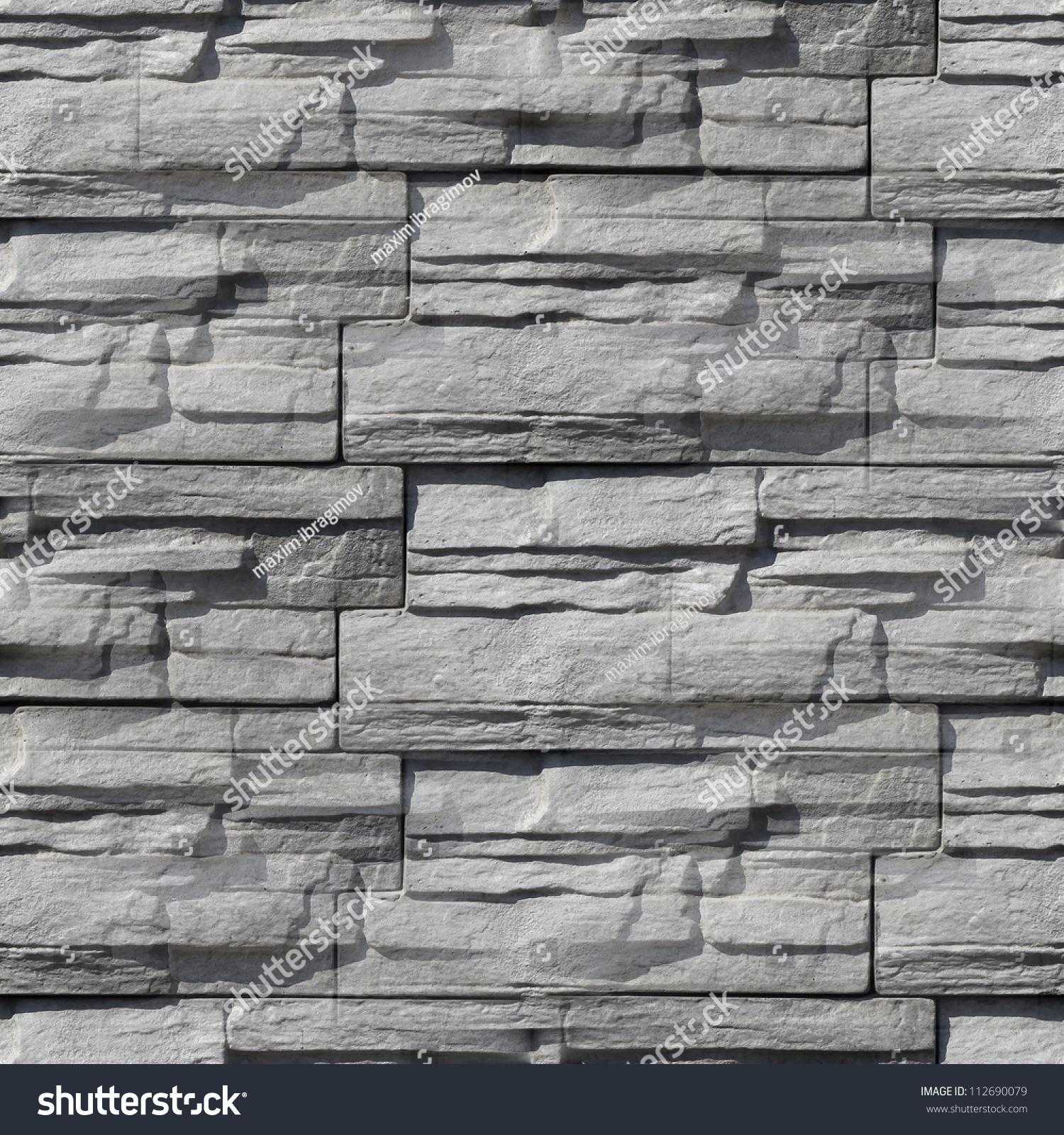 3d Wallpaper Or Wall Panel Or Wall Panels Stacked Stone Granite Stone Gray Decorative Brick Wall Stock Photo