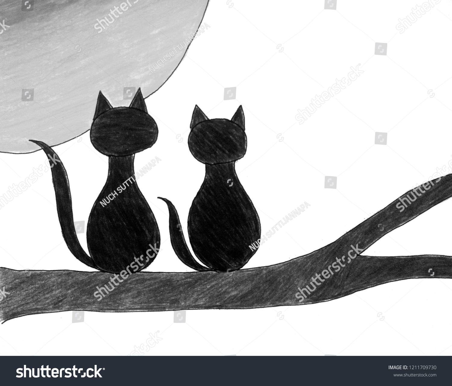 Full Moon Drawing Black And White Hand Drawing 2 Black Cats Sitting Stock Illustration Royalty