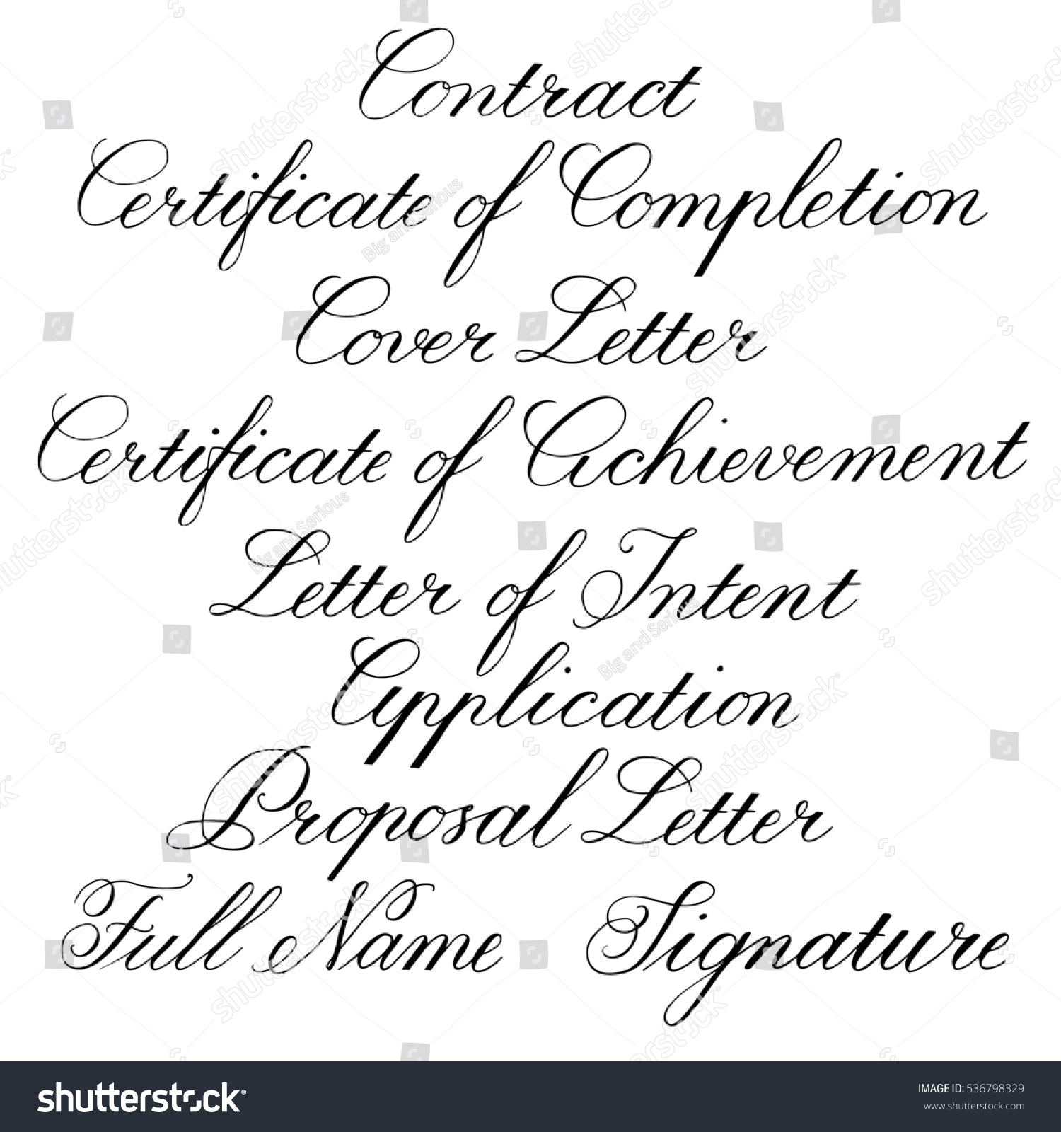 Copperplate Calligraphy Font Free Handwritten Calligraphic Tag Lines Business Documents Stock