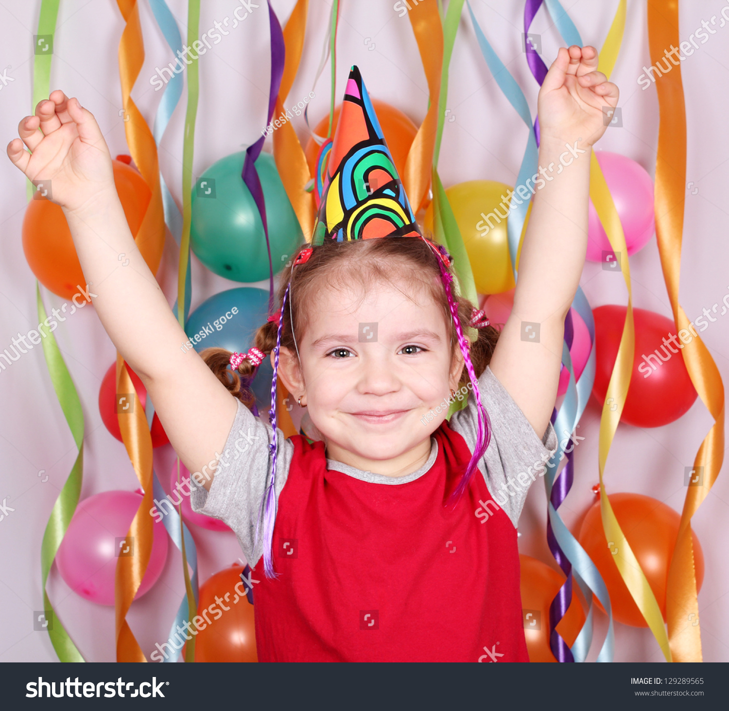 Little Kid Birthday Party Happy Little Girl Birthday Party Stock Photo Edit Now 129289565