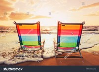 Hawaiian Vacation Sunset Concept Two Beach Stock Photo ...