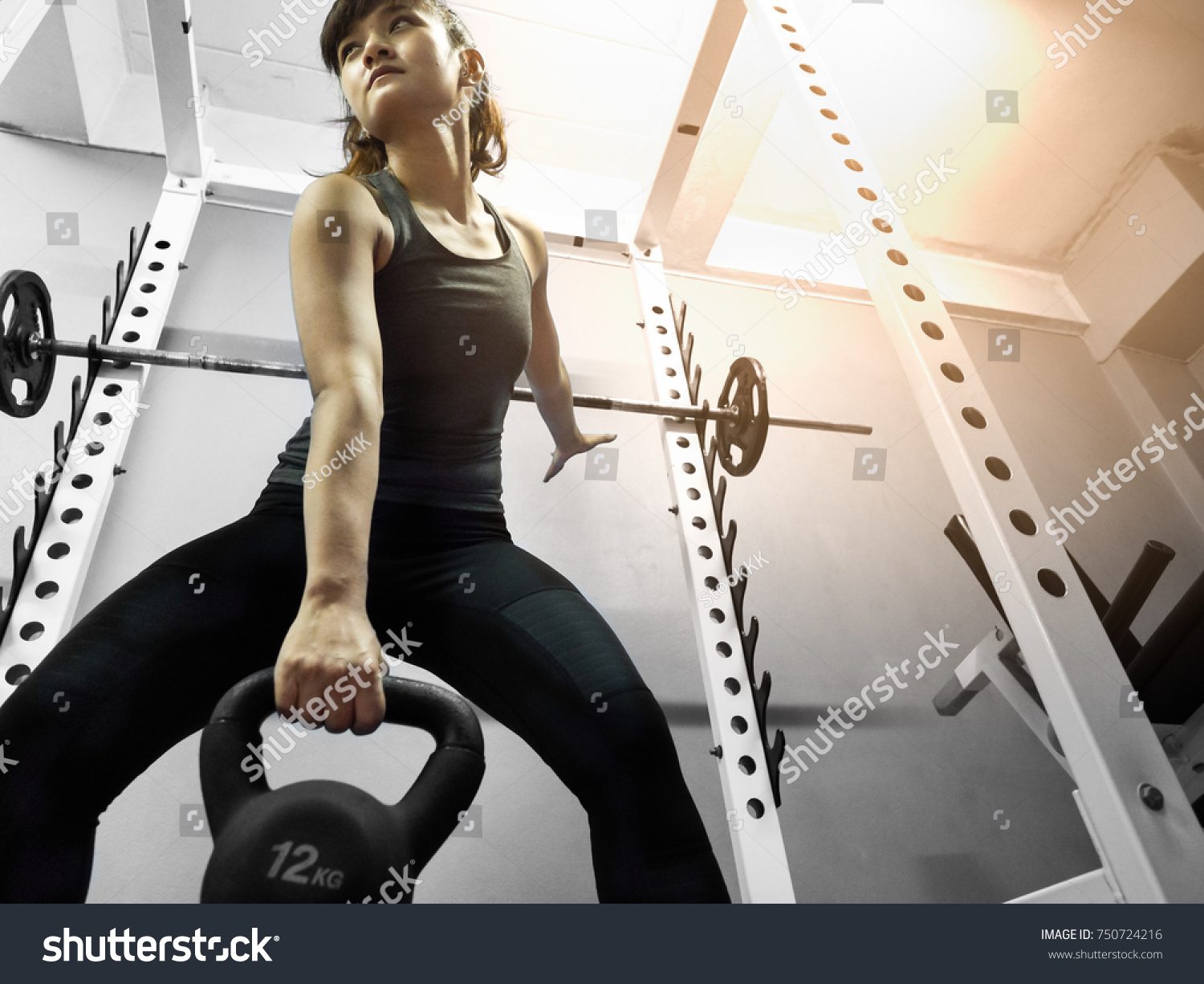 Kettlebell Bodybuilding Healthy Asian Woman Lifting Kettlebell Weight Stock Photo Edit