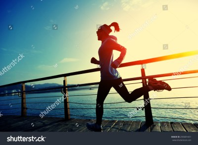 Healthy Lifestyle Sports Woman Running On Stock Photo ...