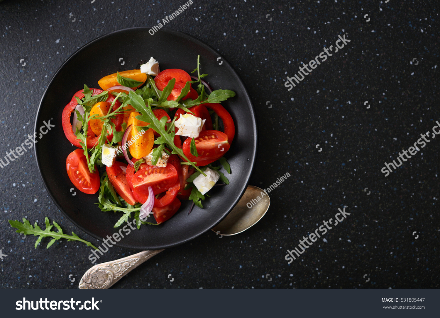 Plate With Food Top View Healthy Salad On Plate Food Top View Stock Photo